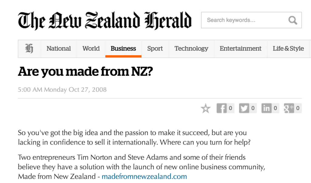 Tim Norton NZ Herald made from New Zealand